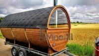tønde sauna med halv panoramavindue