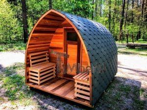 Udendørs sauna iglu design rød ceder