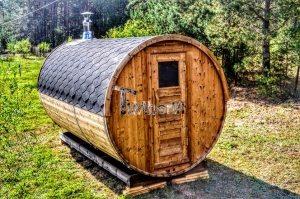 tønde sauna med træfyret Harvia varmeapparat