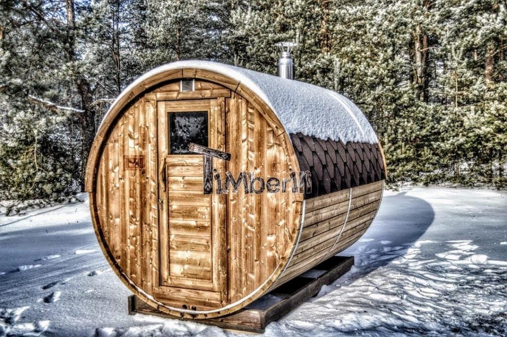 tønde sauna med træfyret Harvia M3 varmeapparat