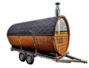 Udendørs sauna på traileren mobil Harvia ovn med omklædningsrum