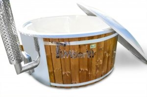 Vildmarksbad i glasfiber Termotræ med integreret ovn Wellness Royal